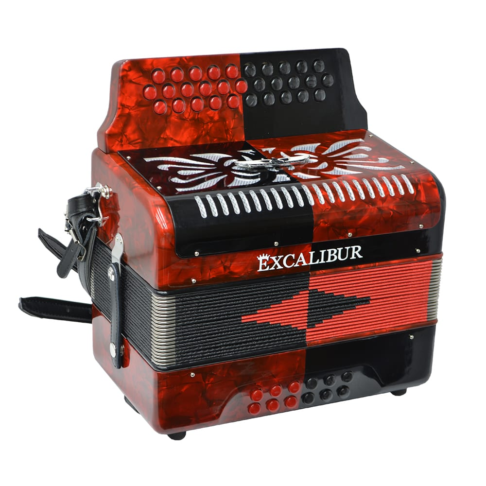 Excalibur Super Classic PSI 3 Row - Button Accordion - Red/Black -  Key of FBE