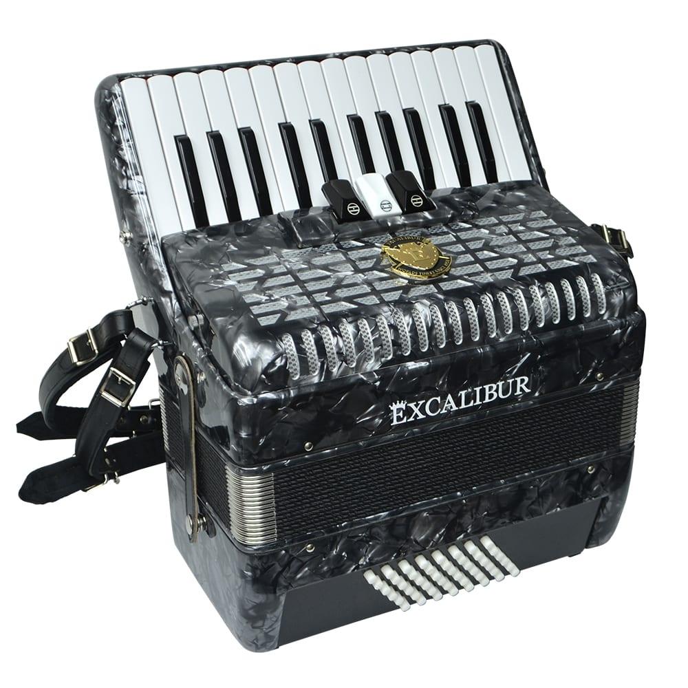 Excalibur Frankfurt 48 Bass Ultralight Accordion - Pearl Grey