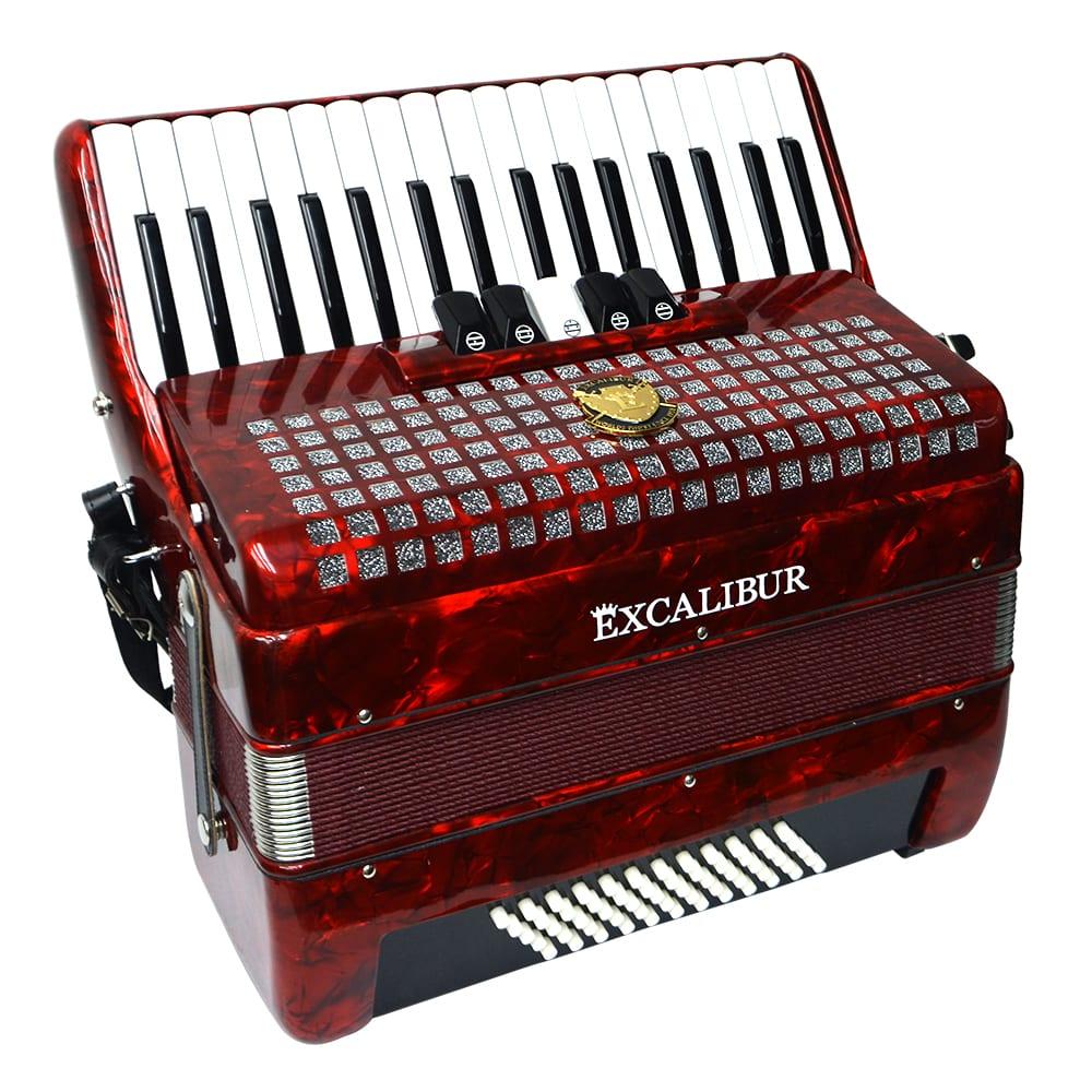 Excalibur Super Classic 60 Bass Accordion - Red