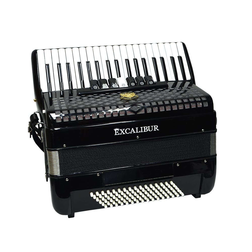 Excalibur Super Classic 72 Bass Piano Accordion - Ebony Polish