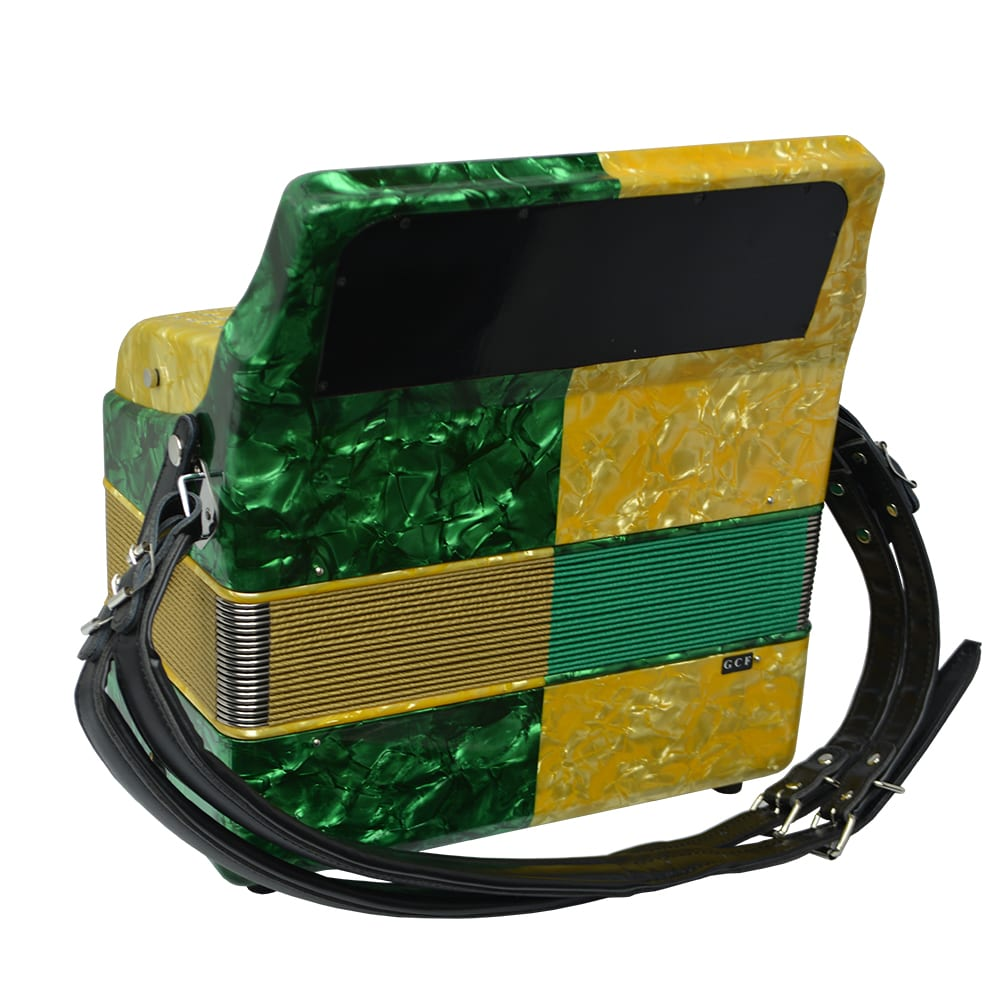 Excalibur Super Classic PSI 3 Row Button Accordion - Gold/Green -  Key of GCF