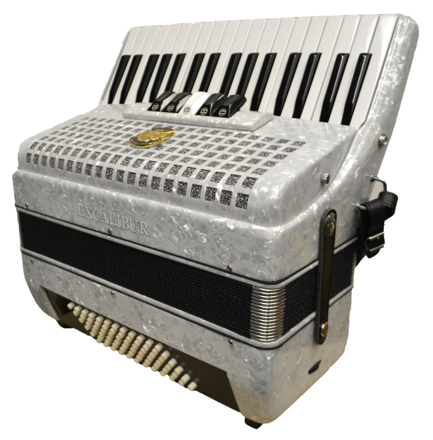 Excalibur Super Classic 72 Bass Accordion - Pearl White