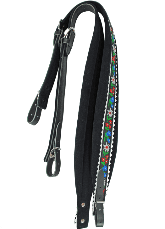 Excalibur Strap Crown Black Leather and Fabric Flower Pattern