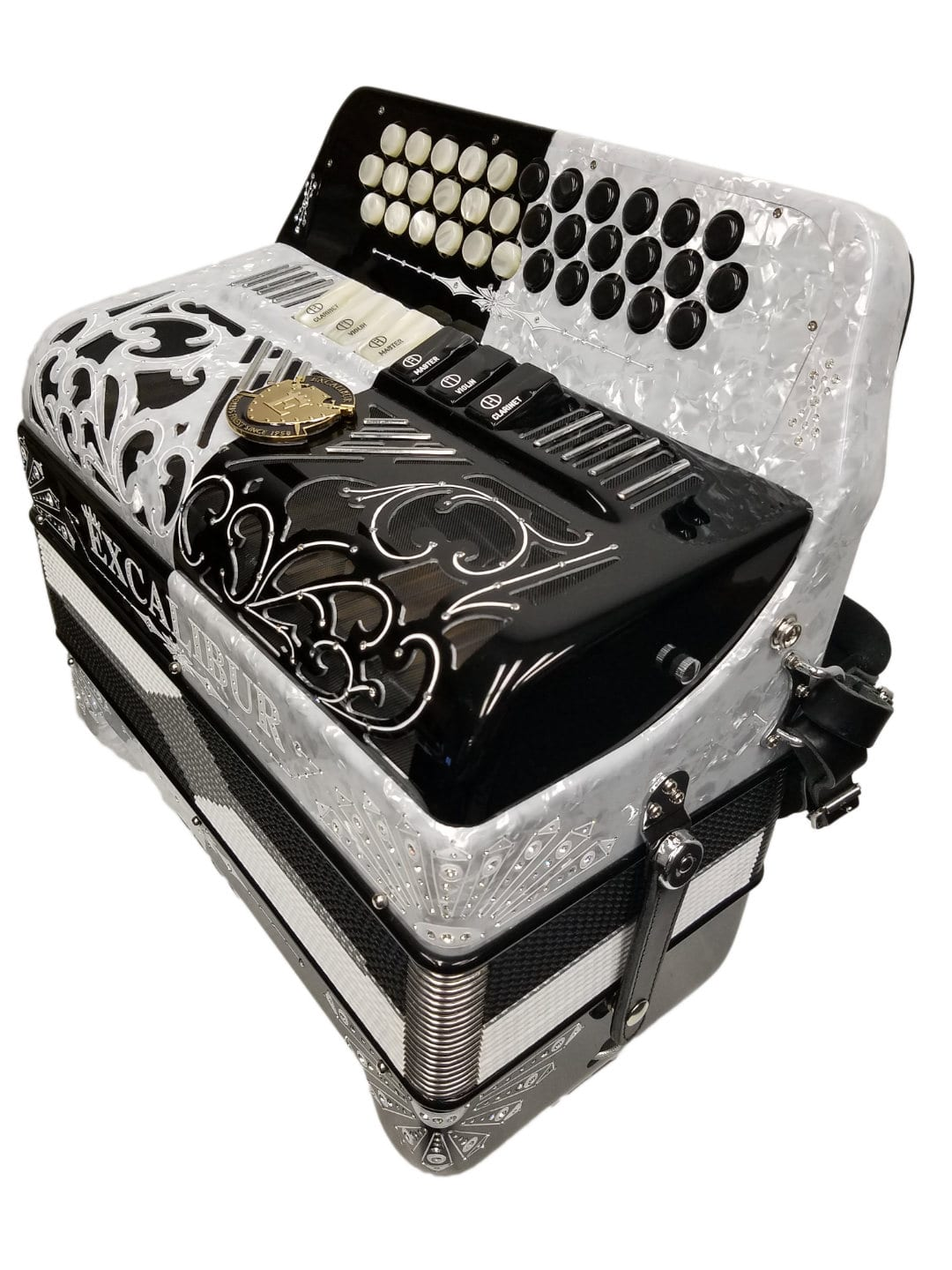 Excalibur Crown Custom 6 Switch Button Accordion - White / Black
