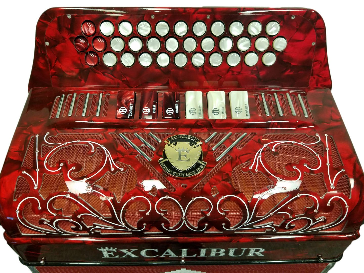 Excalibur Crown Custom 6 Switch Button Accordion - Red