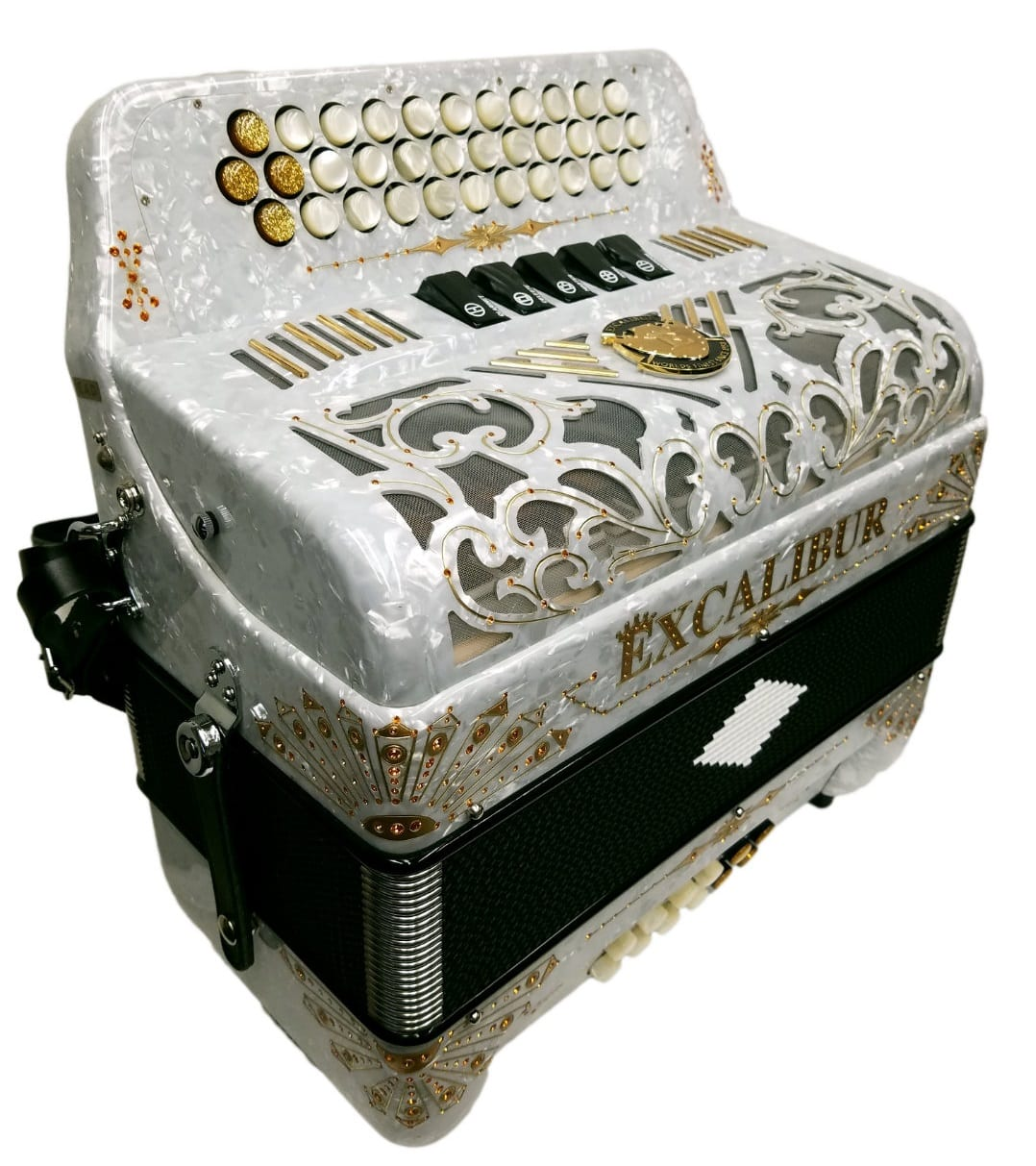 Excalibur Crown Custom 5 Switch Button Accordion White