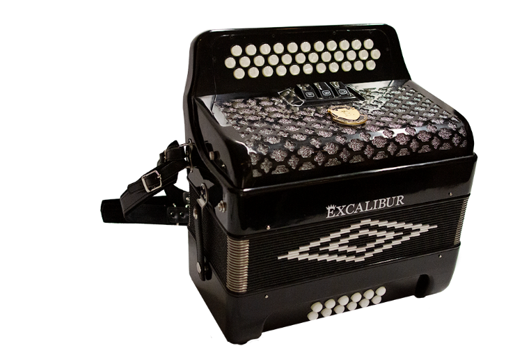 Excalibur Super Classic PSI 3 Row Button Accordion 3 Switch Black Polish