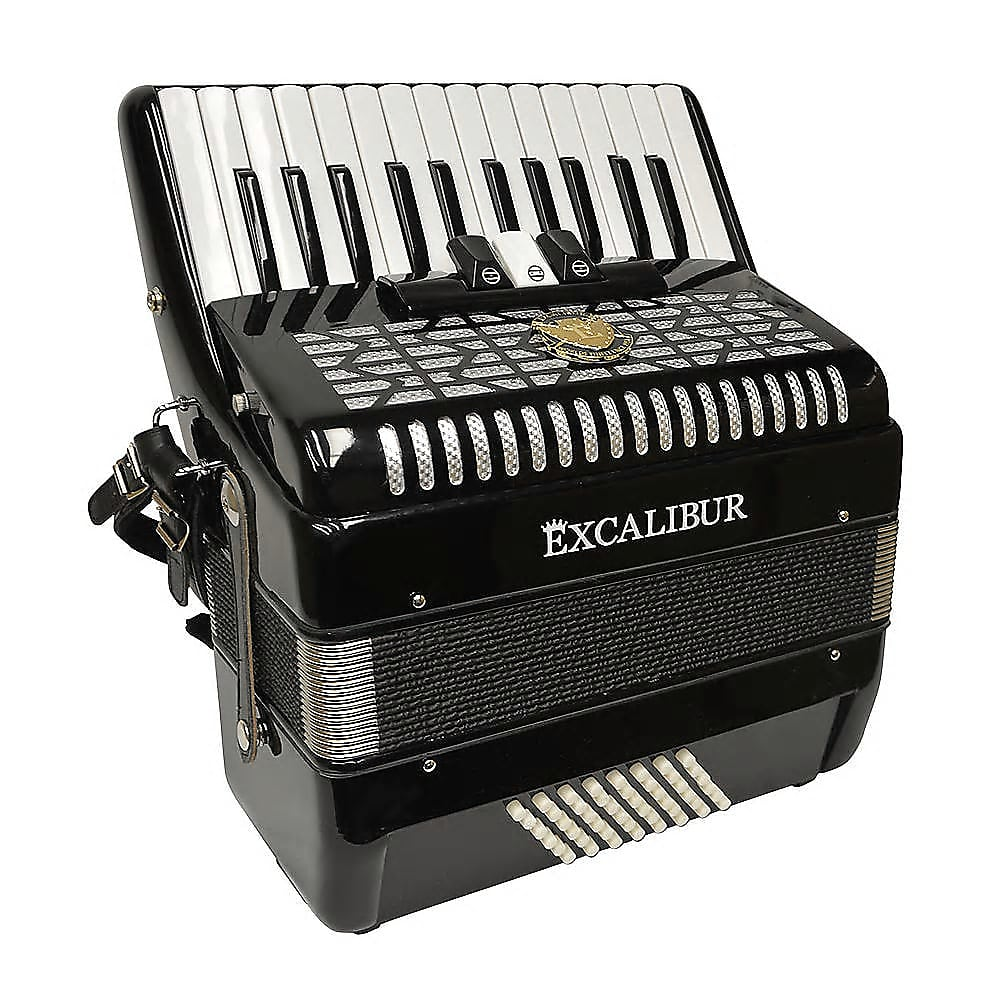 Excalibur Super Classic 48 Bass Ultralite Accordion - Ebony Polish