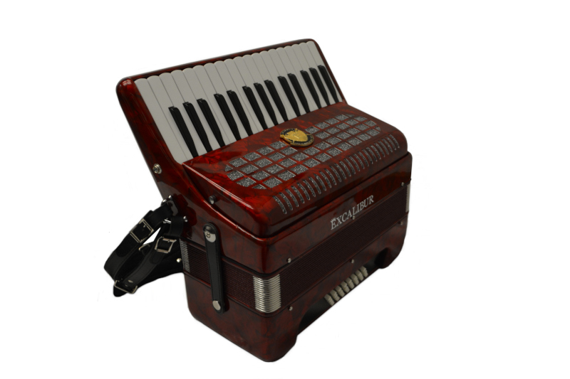 Excalibur Super Classic Ultralight 32 Bass Piano  Pro Accordion - Red