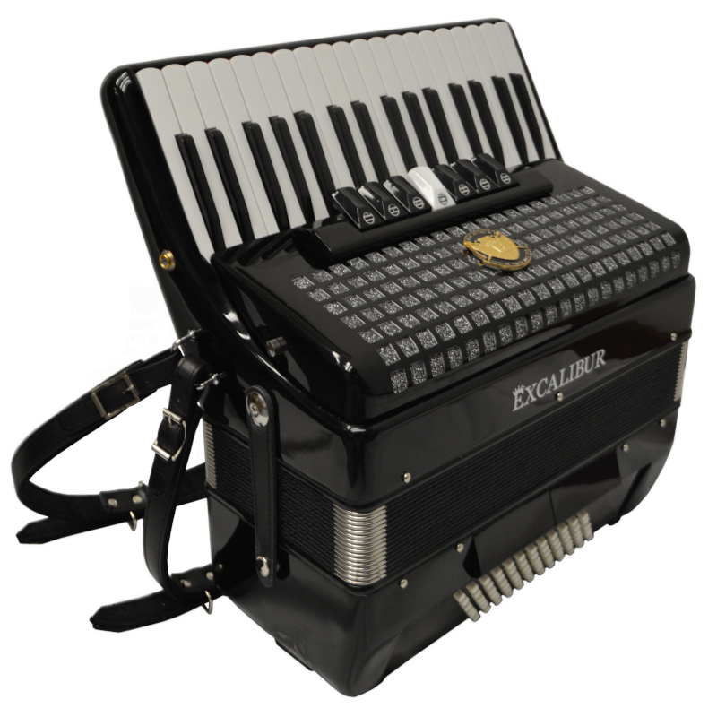 Excalibur Super Classic 72 Bass Piano Accordion Black