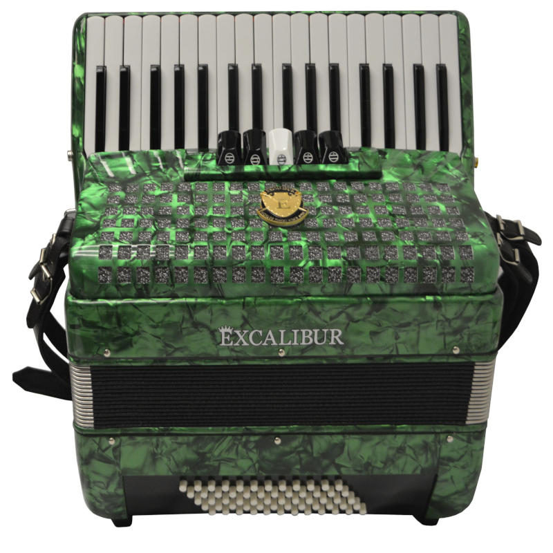 Excalibur Super Classic 60 Bass Piano Accordion Green