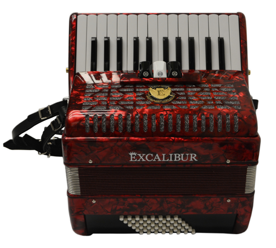 Excalibur Frankfurt 48 Bass Ultralight Accordion - Red