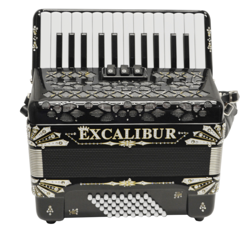 Excalibur Electra Edition 48 Bass Piano Accordion Black