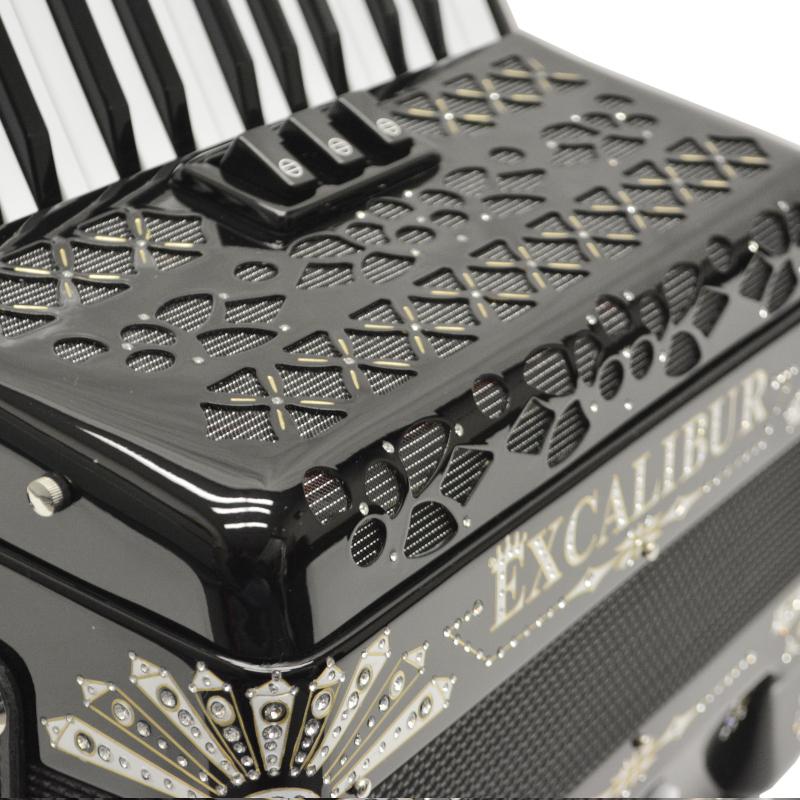 Excalibur Electra Edition 48 Bass Piano Accordion Black