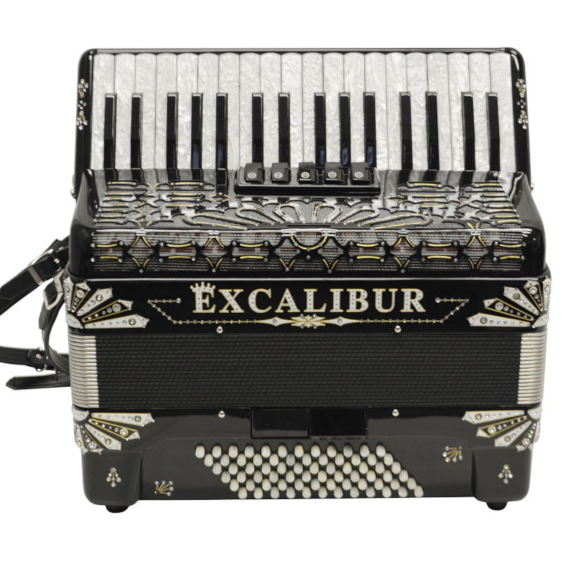 Excalibur Electra Edition 72 Bass Piano Accordion Black