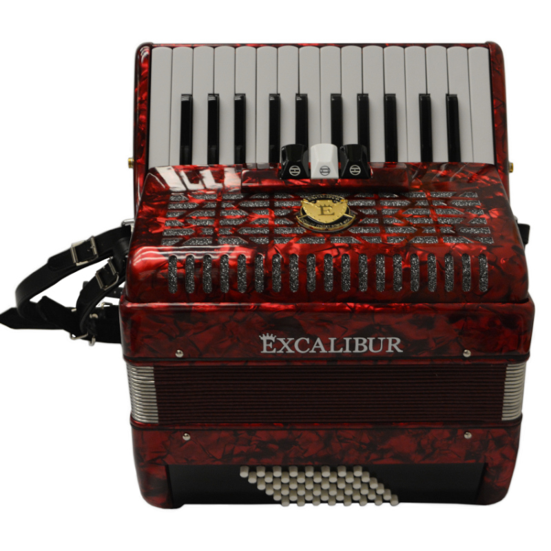 Excalibur Electra Edition 48 Bass Piano Accordion Red