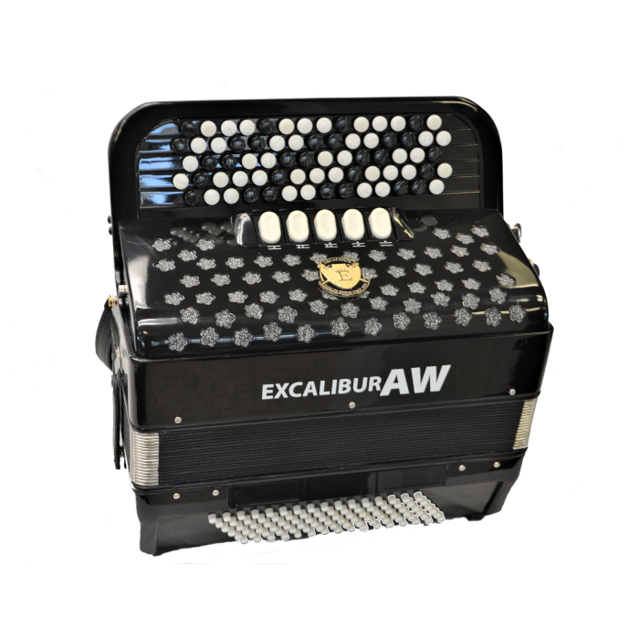 EXCALIBUR 96 BASS CHROMATIC BUTTON ACCORDION AKORDEON WERKS BLACK