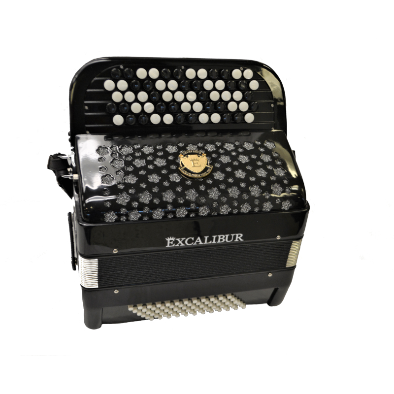 EXCALIBUR SUPER CLASSIC 72 BASS CHROMATIC BUTTON ACCORDION BLACK