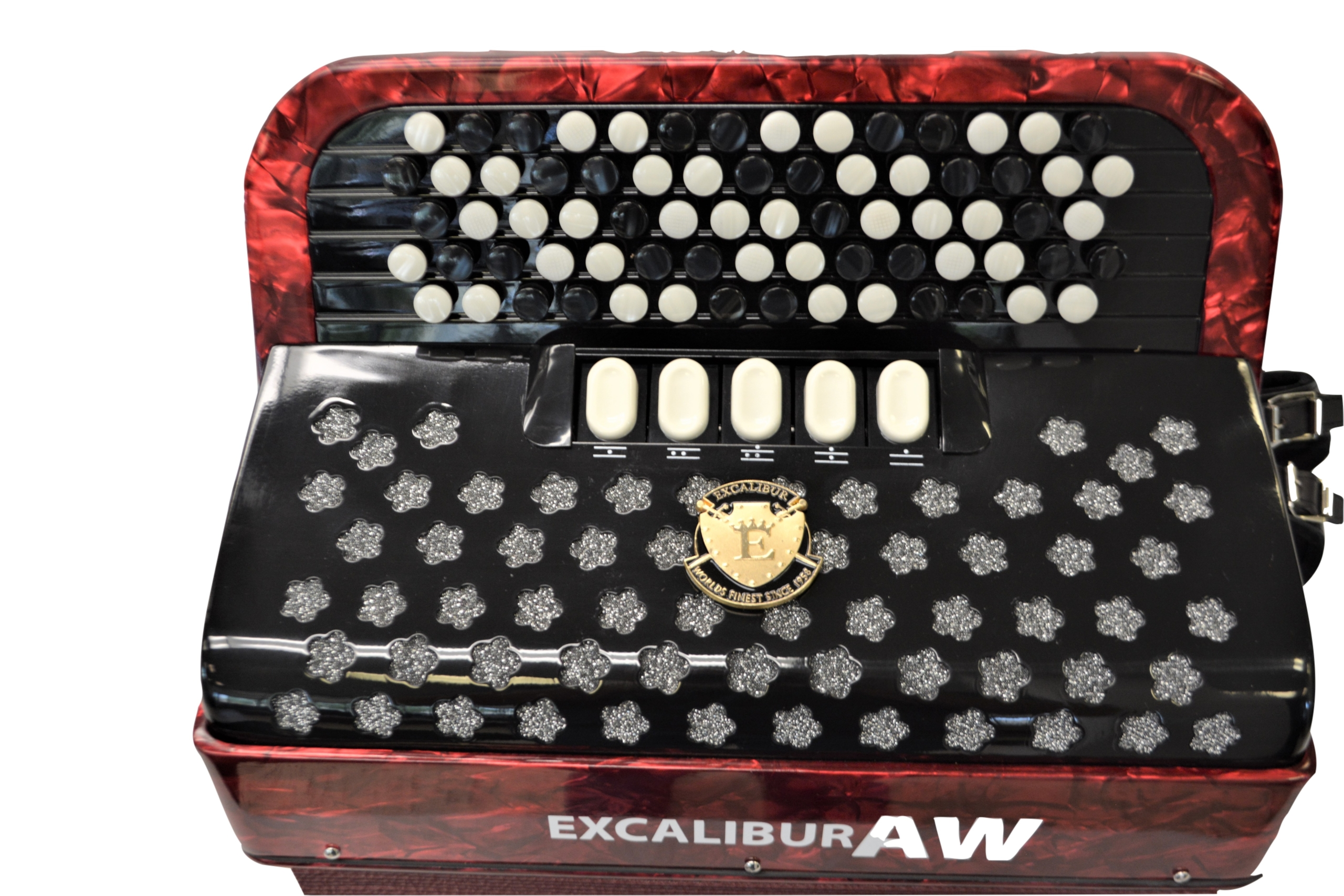Excalibur 96 Bass Chromatic Button Accordion Akordeon Werks(AW) Red Polish C System