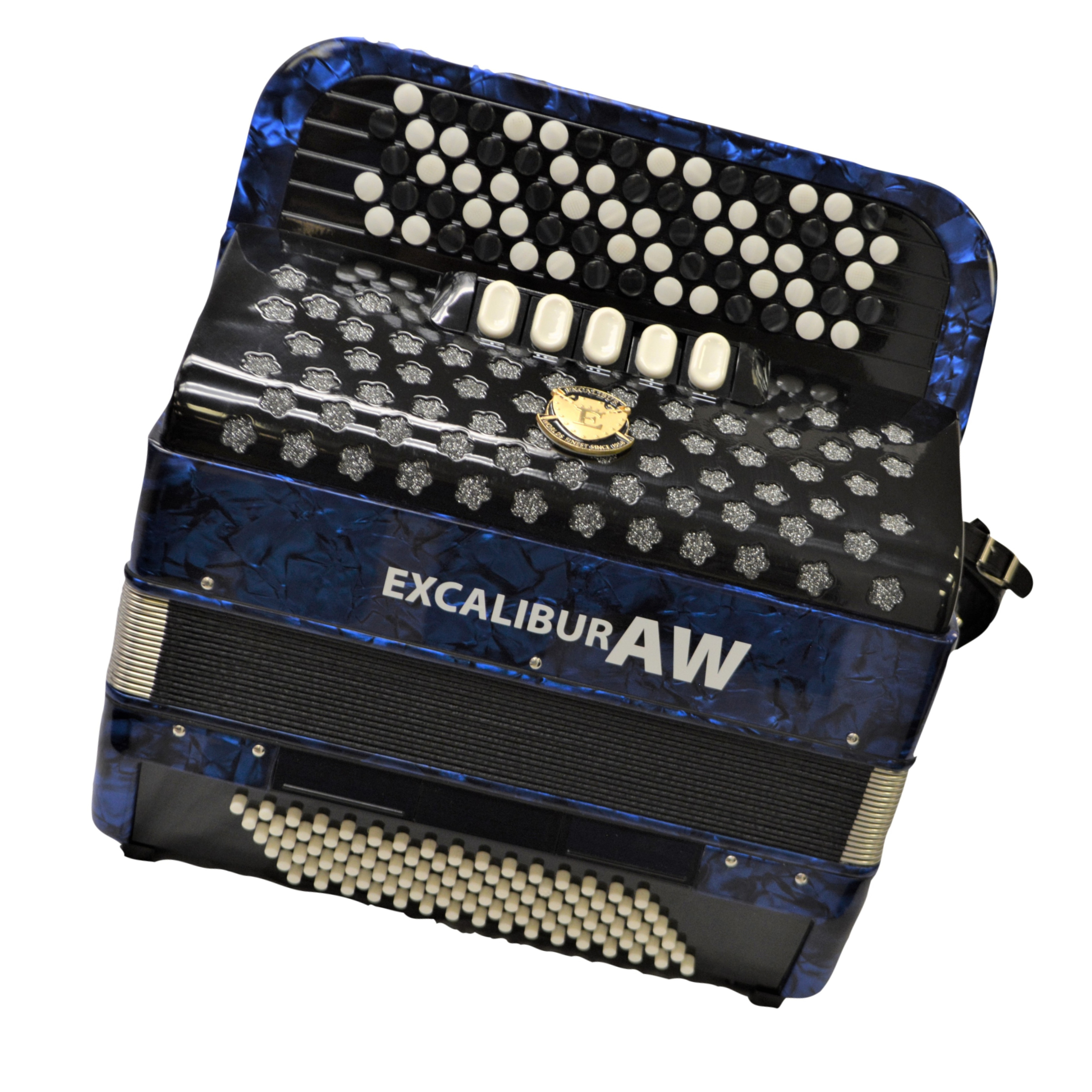 Excalibur 96 Bass Chromatic Button Accordion Akordeon Werks(AW) Blue Polish C System