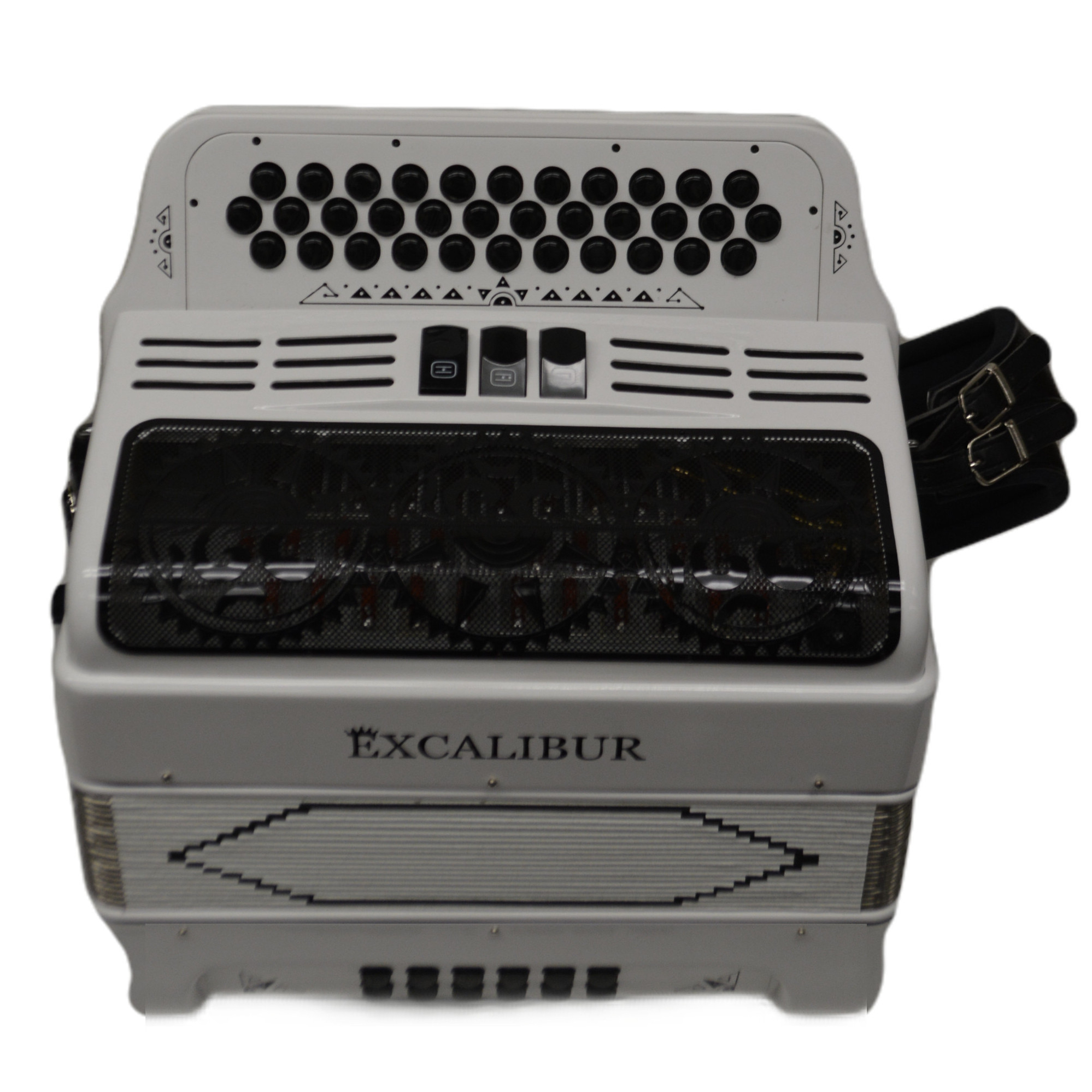 Excalibur 34 Key PSI LTD Edition Button Accordion White Satin