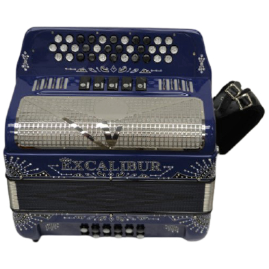 Excalibur Crown 5 Switch Button Accordion Key Of FBbEb Royal Blue Engraved LTD