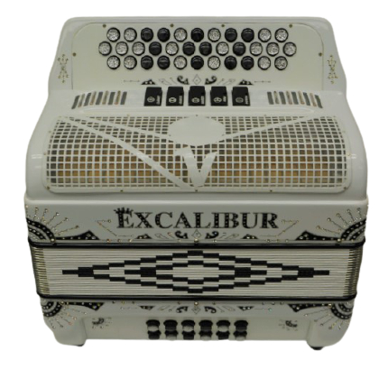 Excalibur Crown 5 Switch Button Accordion Key Of FBbEb Siberian White Engraved LTD