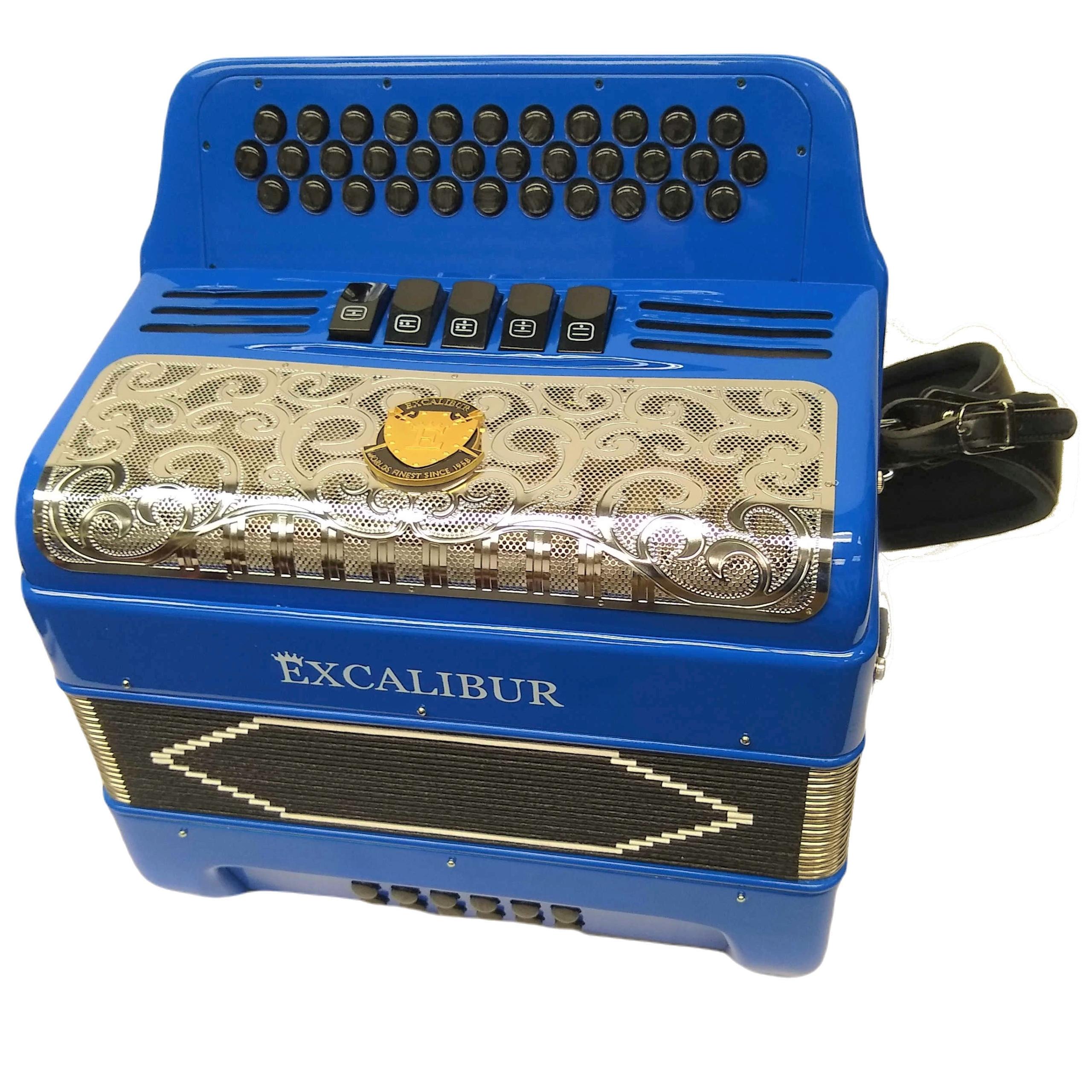 Excalibur Super Classic PSI  LTD 3 Row Button Accordion - Royal Blue